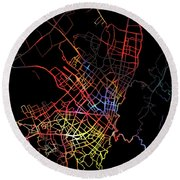 Bogota Colombia City Street Map Watercolor Dark Mode Round Beach Towel