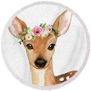 Boho Deer Watercolor Floral Woodland Round Beach Towel