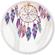 Boho Dreamcatcher - Boho Chic Ethnic Nursery Art Poster Print Round Beach Towel