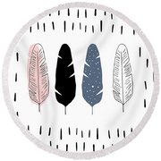 Boho Feathers - Boho Chic Ethnic Nursery Art Poster Print Round Beach Towel