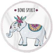 Boho Spirit Elephant - Boho Chic Ethnic Nursery Art Poster Print Round Beach Towel