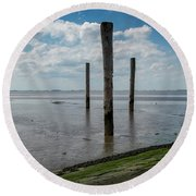 Round Beach Towel featuring the photograph Bohrinsel Viewing Platform by Anjo Ten Kate