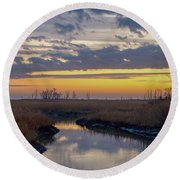 Bombay Hook Dawn's Early Light Round Beach Towel