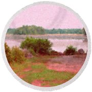 Borderland Pond With Monet's Palette Round Beach Towel