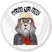 Born To Ride - Baby Room Nursery Art Poster Print Round Beach Towel