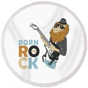 Born To Rock - Baby Room Nursery Art Poster Print Round Beach Towel