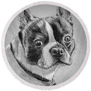 Boston Bull Terrier Round Beach Towel