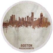 Boston Massachusetts Rust Skyline Round Beach Towel