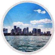 Boston Skyline From Boston Harbor  Round Beach Towel