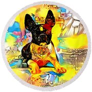 Boston Terrier Dog With Bright Colors Round Beach Towel