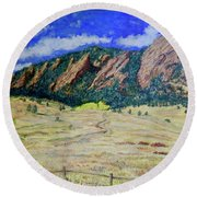 Flatirons Boulder Colorado Round Beach Towel