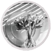 Bouquet And Plate-bw Round Beach Towel
