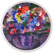 Bouquet In The Dark Round Beach Towel