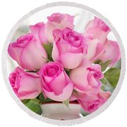 Bouquet Of Pink Roses Round Beach Towel
