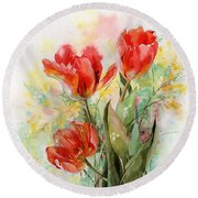 Bouquet Of Red Tulips Round Beach Towel