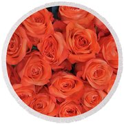 Bouquet Of The  Living Coral Roses Round Beach Towel