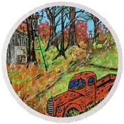 Old Farm Bowhunting  Round Beach Towel