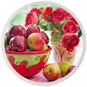 Bowl Of Red Apples Round Beach Towel