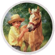 Boy And Foal  Round Beach Towel