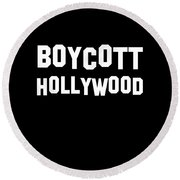 Boycott Hollywood Round Beach Towel