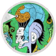 Round Beach Towel featuring the digital art Brain-man by Sotuland Art