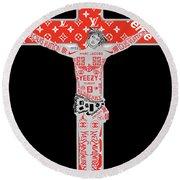Brand Crucifix  Round Beach Towel