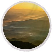 Brasstown Bald Mists Round Beach Towel