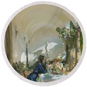Breakfast In The Loggia, 1910  Round Beach Towel