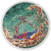 Breaking Out Empty Nest Iv Round Beach Towel