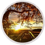 Round Beach Towel featuring the photograph Breaking Sunset by Robert Knight