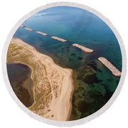 Round Beach Towel featuring the photograph Breakwater by Okan YILMAZ