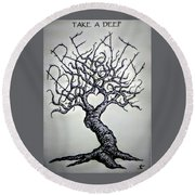 Round Beach Towel featuring the drawing Breathe Love Tree - Blk/wht by Aaron Bombalicki