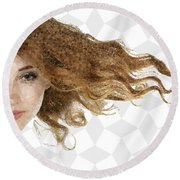 Round Beach Towel featuring the mixed media Breeze by Marianna Mills
