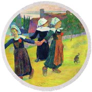 Breton Girls Dancing, Pont-aven - Digital Remastered Edition Round Beach Towel