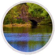 Round Beach Towel featuring the photograph Bridge In Central Park by Stuart Manning