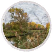 Round Beach Towel featuring the photograph Bridge Over Ellicott Creek by Guy Whiteley