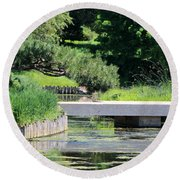 Round Beach Towel featuring the photograph Bridge Over Pond In Japanese Garden by Colleen Cornelius