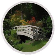 Bridge To The Azalea Gardens Round Beach Towel