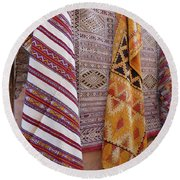 Bright Colored Patterns On Throw Rugs In The Medina Bazaar  Round Beach Towel