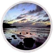 Bright Mirror Of Sunset Light Round Beach Towel