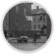 Bringing Home Some Salvaged Firewood In Slum Area In New Bedford  Massachusetts Round Beach Towel