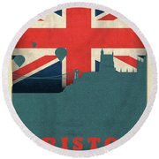 Bristol England World City Flag Skyline Round Beach Towel