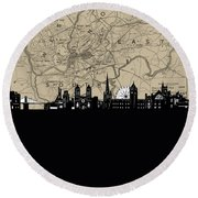 Bristol Skyline Map Round Beach Towel
