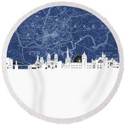 Bristol Skyline Map Blue Round Beach Towel