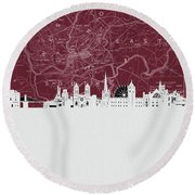 Bristol Skyline Map Red Round Beach Towel