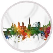 Bristol Skyline Watercolor 2 Round Beach Towel