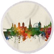 Bristol Skyline Watercolor Round Beach Towel