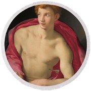 Bronzino -monticelli 1503 - Florence 1572-. Saint Sebastian -ca. 1533-. Oil On Panel. 87 X 76.5 Cm. Round Beach Towel