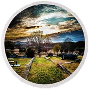 Brooding Sky Over Cemetery Round Beach Towel