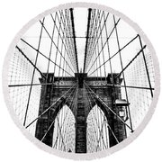 Brooklyn Bridge Web Round Beach Towel